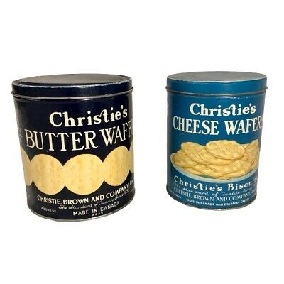 Set of Two Christie's Butter & Cheese Wafers- Lithograph Antique Advertising Tin