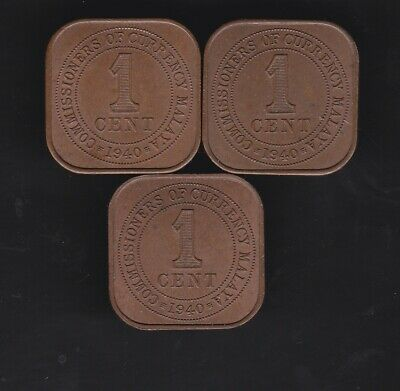 1940 Uncirculated Commissioners of Currency 1 cent coins x 3