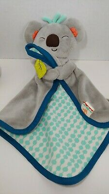 Battat B Toys Koala gray baby security blanket lovey open front blue green teal