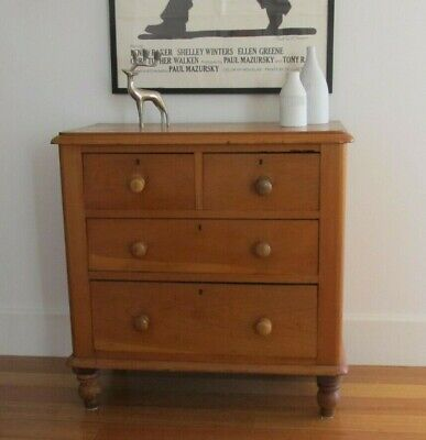 Vintage Antique New Zealand Kauri Pine Chest of Drawers Hall Table W Footscray