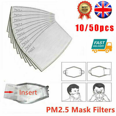 UK 10-100PC PM2.5 Filter Paper Mouth Cover 6Ply Pad Anti-Fog/Haze Adult Child