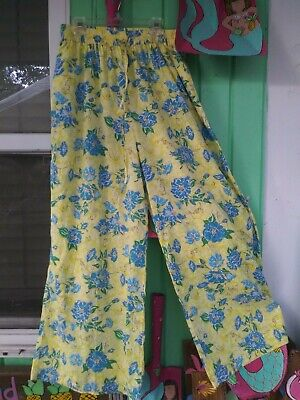 Lilly Pulitzer Women's sz M 6/8 yellow and blue long wide leg beach pants