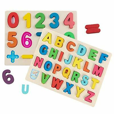 Jacootoys Wooden Alphabet and Number Puzzle Learning Board Game Educational Toy