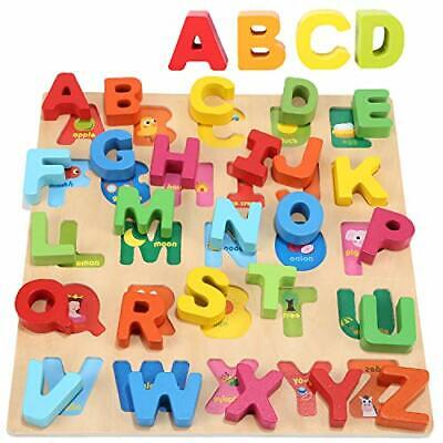 Jacootoys Wooden Alphabet Puzzle ABC Chunky Puzzle Board Early Learning