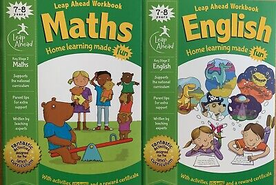 Leap Ahead Maths And English Workbooks 7-8 Years KS2, Brand New