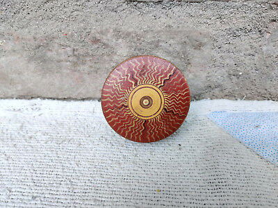 Antique Handmade Swirl Design Round Lacquered Wooden Box Woodenware Collectibles