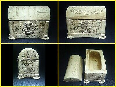 EGYPTIAN ANTIQUES ANTIQUITY Lided Stone Sarcophagus Coffin Tomb 1549-1082 BC