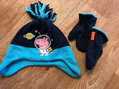 Boys George Pig Peppa Pig Winter Hat And Mittens Size 1-3 Years From George