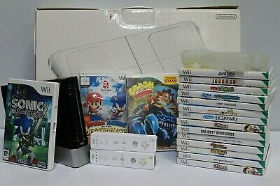 Nintendo Wii Black Console Bundle + 17 Games w/ Controllers + Wii Fit  - 250