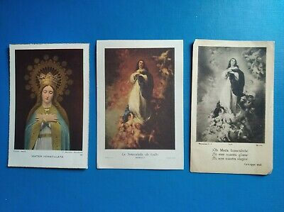 lote 3 estampas religiosa antiguas INMACULADA CONCEPCION holy card
