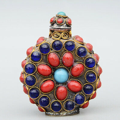Collectable China Old Bronze Inlay Agate Carve Royal Noble Delicate Snuff Bottle
