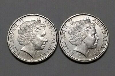 2011 10c COINS x2, LOW MINTAGE 10 Cent , 1 coin with small error.