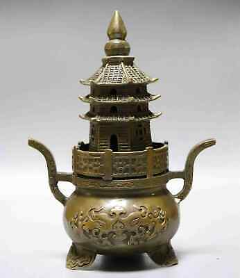 Collect Ming Dynasty Old Bronze Hand-Carved Auspicious Precious Turriform Censer