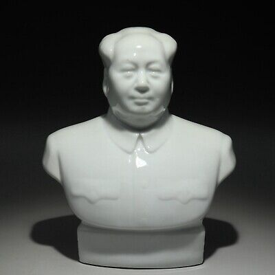 Collect Old White Porcelain Glaze Hand-Carved Great Mao Zedong Souvenir Statue