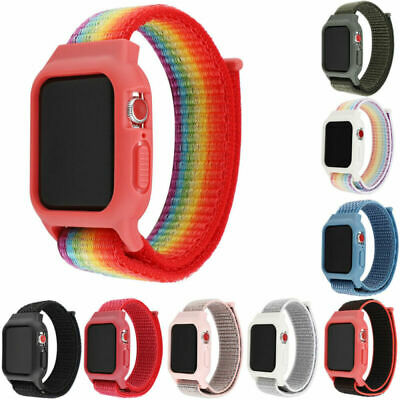 40/44mm Nylon Sport Loop Band Strap Silicone Case For Apple Watch Series 5 4 3 2