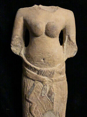 Authentic Khmer sandstone torso of a female deity 12th-13th c