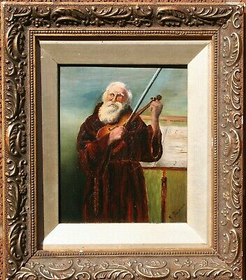 19th Cent Antique Oil Painting Portrait Study of a Old Musician Playing a Violin
