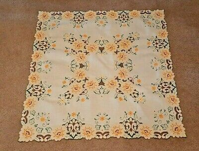 """Vintage Madeira Tablecloth - Hand Embroidered - (32"""" X 32"""") Vibrant Colors"""