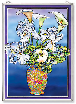 """Amia Stained Glass Spring White Flowers 11"""" X 15.5""""  Window Panel #5913"""