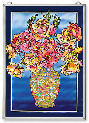 """Amia Stained Glass Rose Roses  11"""" X 15.5""""  Window Panel #5912"""