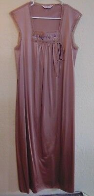 Vintage Vanity Fair Long Nightgown Size Small Mocha Brown Nylon