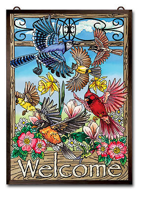 """Amia Stained Glass 11"""" X 15.5"""" Welcome Flying Birds Window Panel  #42048"""