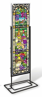 """Amia Stained Glass Great Vintages Wine  4.5"""" X 16""""  Window  Panel  #41079"""
