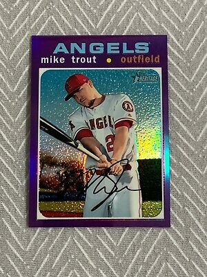 2020 Topps Heritage MIKE TROUT Purple Chrome Refractor THC-466
