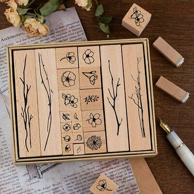 ARTS & CRAFTS! DIY! Set of 20 Wooden & Rubber Vintage Style Floral Stamps