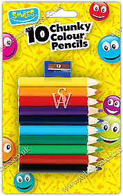 smiles 10 chunky colouring pencils & sharpener