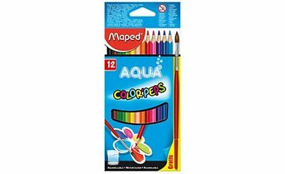maped color'peps aqua water colour pencils and paint brush 12 crayons