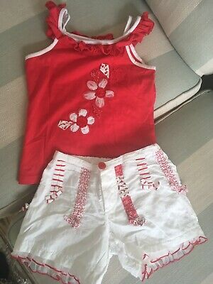 Girls Age 5 Red White Summer Top And Shorts Set