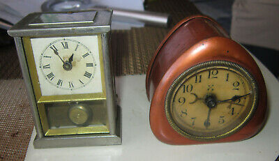 Two  small German antique  wind-up clocks