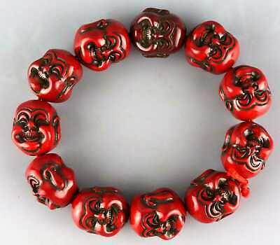 Collectable China Antique Red Coral Hand Carve Double Buddha Head Lucky Bracelet