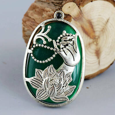 Collect Old Miao Silver Armord Blud Amber Carve Buddha Hand & Lotus Luck Pendant
