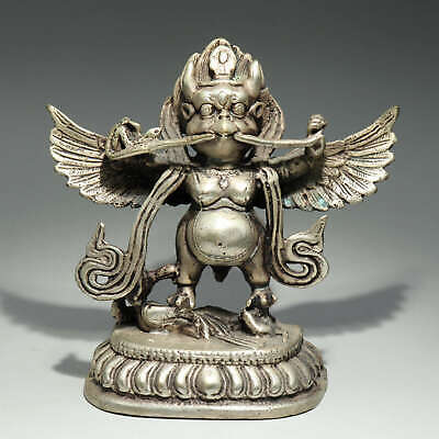 Collectable China Old Miao Silver Hand-Carved Bring Luck Buddhism Decor Statue