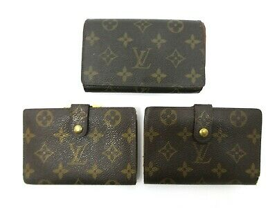 Authentic 3 Item Set LOUIS VUITTON Monogram Wallet PVC Leather 83825