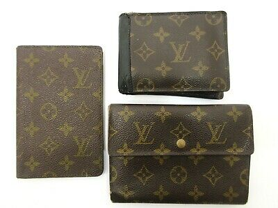 Authentic 3 Item Set LOUIS VUITTON Monogram Wallet PVC Leather 83828