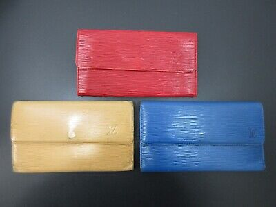 Authentic 3 Item Set LOUIS VUITTON Epi Long Wallet Leather 82697