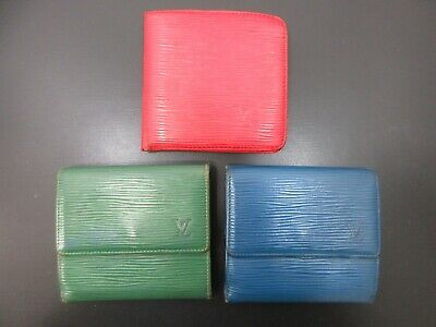 Authentic 3 Item Set LOUIS VUITTON Epi Wallet Leather 82711