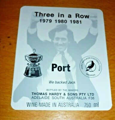Collectable port labels: Port Adelaide Football Club ''3 In A Row'' label MINT