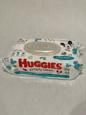 Huggies Simply Clean Baby Wipes 64 Count Pack Fresh Scent New