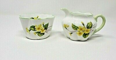 Shelley England Vintage Dainty Fine Bone China Primrose Sugar & Creamer 13430