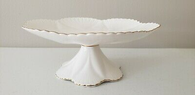 Shelley England Fine Bone China White Gold Trim Regency Pedestal Cake Stand EUC!