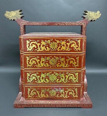 Chinese Art Lacquered Red Stacking Box