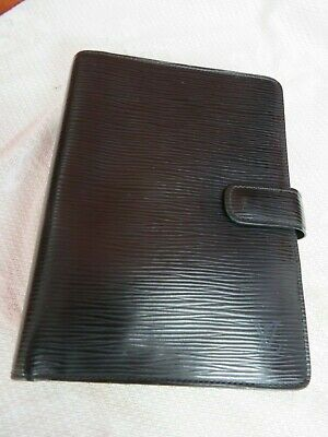 Louis Vuitton Authentic Medium Ring Planner Agenda Black Epi Leather New Pages