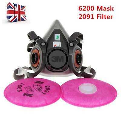3M 6200+2091 Filters Half Face Cover Protction for Spray Oil Paint Anti Dust Gas