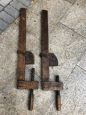 Pair of Antique BENCH VICE, Long Clamp - Wooden, Engineering - 85cm length