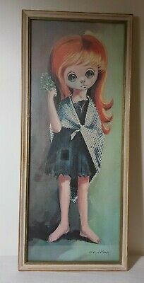 Vintage D Golding Sad Eyed Girl with Shawl Professional Framing Numbered on Back
