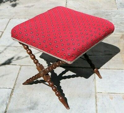 An Antique Footstool with Cross Wooden Legs Bobbin Turned Late 19th Century